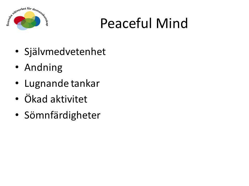 Peaceful Mind • Självmedvetenhet • Andning • Lugnande tankar • Ökad aktivitet • Sömnfärdigheter
