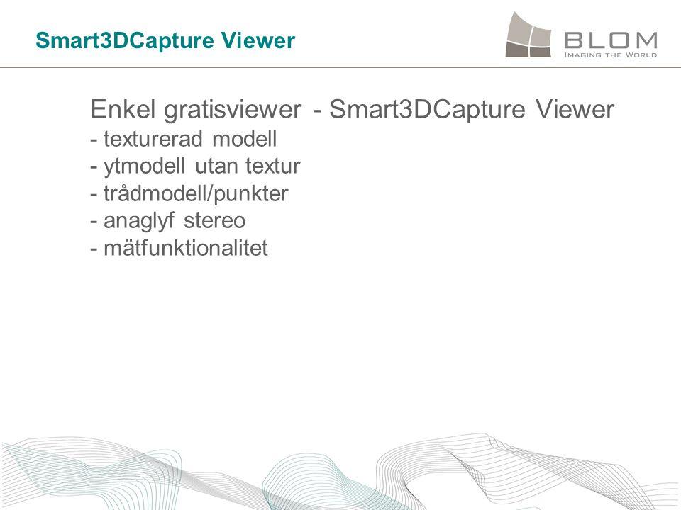Smart3DCapture Viewer Enkel gratisviewer - Smart3DCapture Viewer - texturerad modell - ytmodell utan textur - trådmodell/punkter - anaglyf stereo - mä