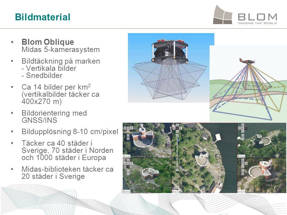 Bildmaterial •Blom Oblique Midas 5-kamerasystem •Bildtäckning på marken - Vertikala bilder - Snedbilder •Ca 14 bilder per km 2 (vertikalbilder täcker