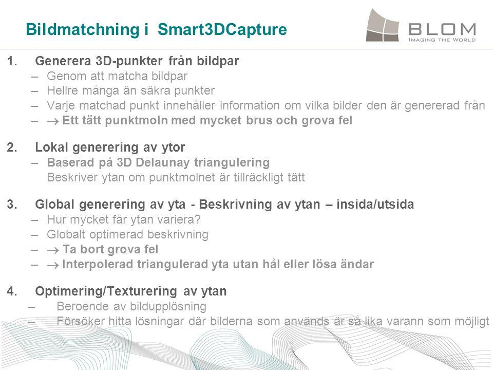 Bildmatchning i Smart3DCapture 1. Generera 3D-punkter från bildpar –Genom att matcha bildpar –Hellre många än säkra punkter –Varje matchad punkt inneh