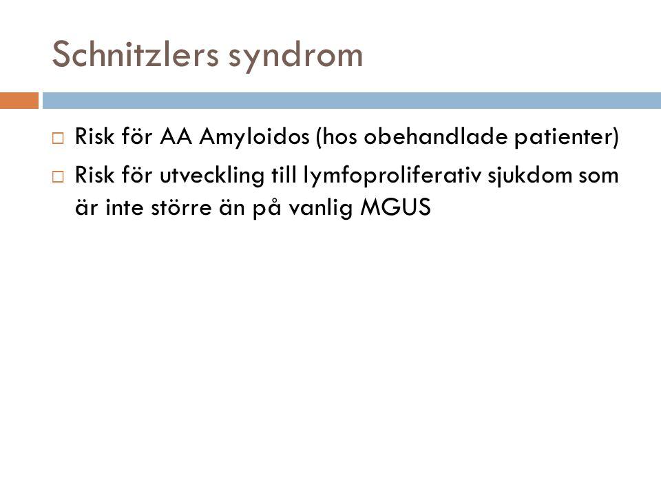 Schnitzlers syndrom  Risk för AA Amyloidos (hos obehandlade patienter)  Risk för utveckling till lymfoproliferativ sjukdom som är inte större än på vanlig MGUS