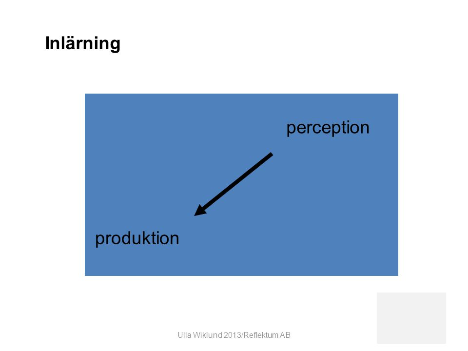 produktion perception Inlärning Ulla Wiklund 2013/Reflektum AB