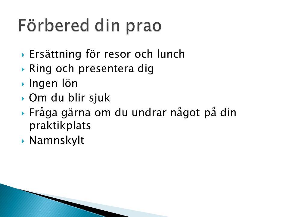  Ersättning för resor och lunch  Ring och presentera dig  Ingen lön  Om du blir sjuk  Fråga gärna om du undrar något på din praktikplats  Namnsk
