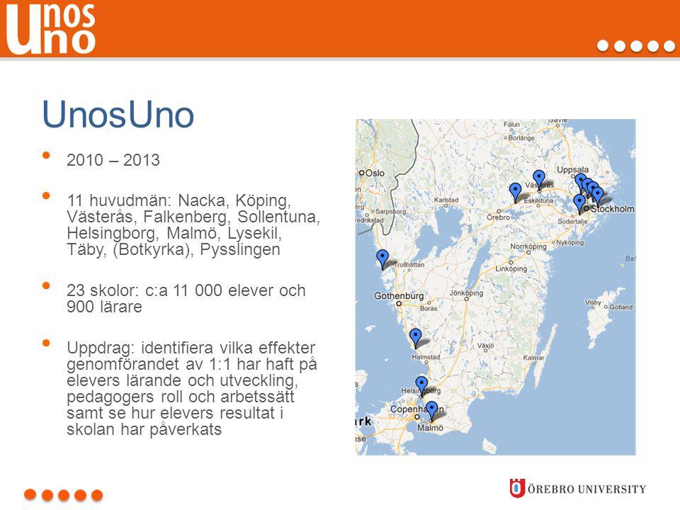 UnosUno • 2010 – 2013 • 11 huvudmän: Nacka, Köping, Västerås, Falkenberg, Sollentuna, Helsingborg, Malmö, Lysekil, Täby, (Botkyrka), Pysslingen • 23 s