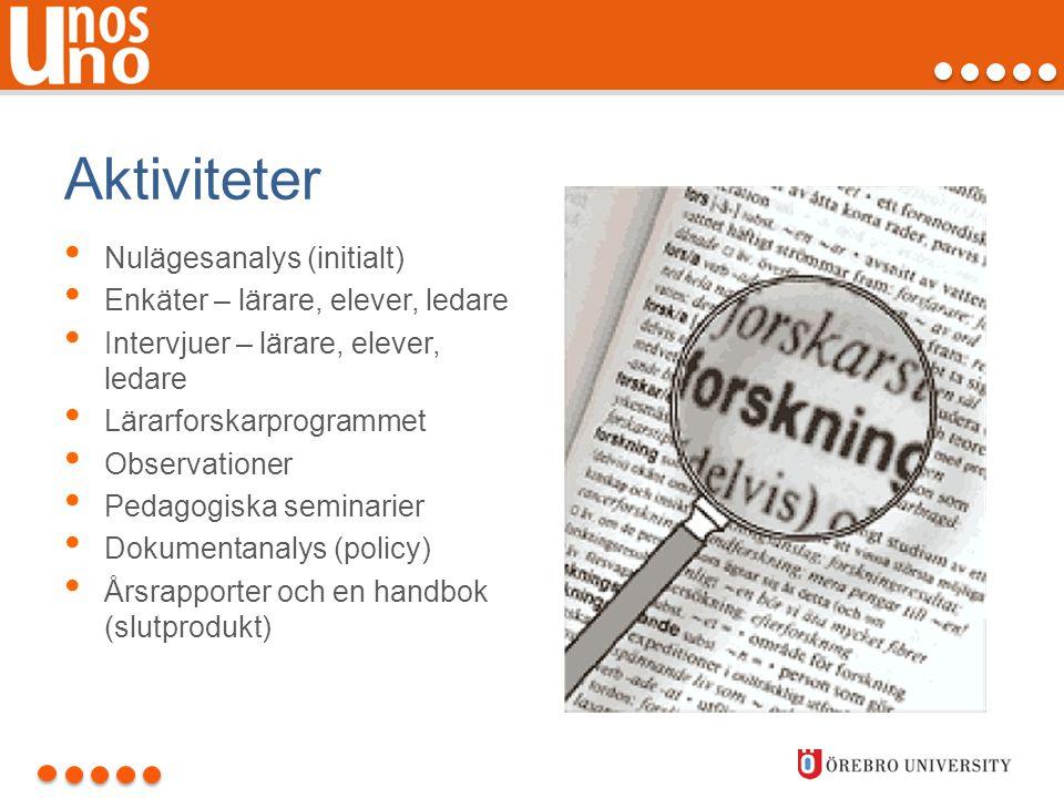 Aktiviteter • Nulägesanalys (initialt) • Enkäter – lärare, elever, ledare • Intervjuer – lärare, elever, ledare • Lärarforskarprogrammet • Observation