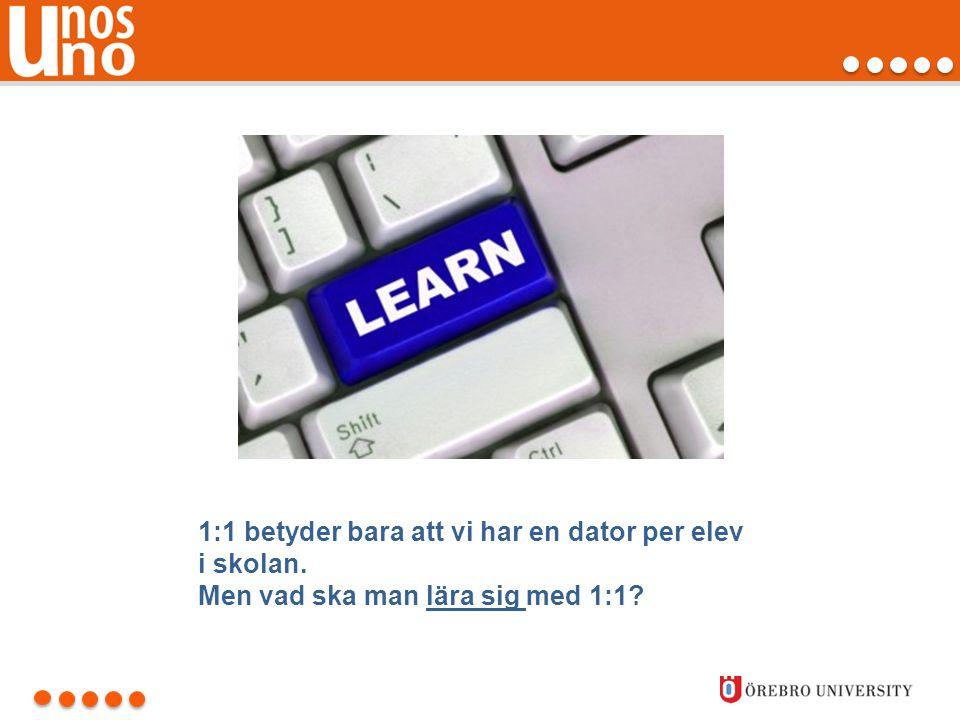 1:1 betyder bara att vi har en dator per elev i skolan. Men vad ska man lära sig med 1:1?