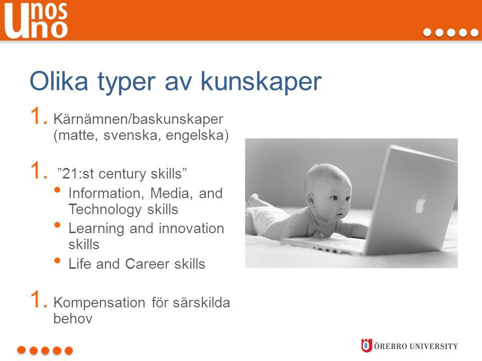 """Olika typer av kunskaper 1. Kärnämnen/baskunskaper (matte, svenska, engelska) 1. """"21:st century skills"""" • Information, Media, and Technology skills •"""