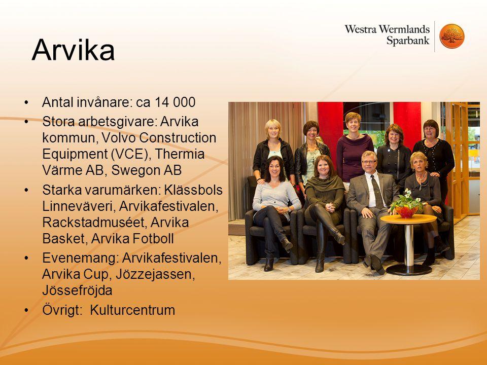 Arvika •Antal invånare: ca 14 000 •Stora arbetsgivare: Arvika kommun, Volvo Construction Equipment (VCE), Thermia Värme AB, Swegon AB •Starka varumärken: Klässbols Linneväveri, Arvikafestivalen, Rackstadmuséet, Arvika Basket, Arvika Fotboll •Evenemang: Arvikafestivalen, Arvika Cup, Jözzejassen, Jössefröjda •Övrigt: Kulturcentrum