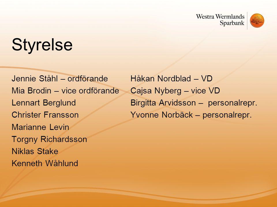 Styrelse Jennie Ståhl – ordförande Mia Brodin – vice ordförande Lennart Berglund Christer Fransson Marianne Levin Torgny Richardsson Niklas Stake Kenn