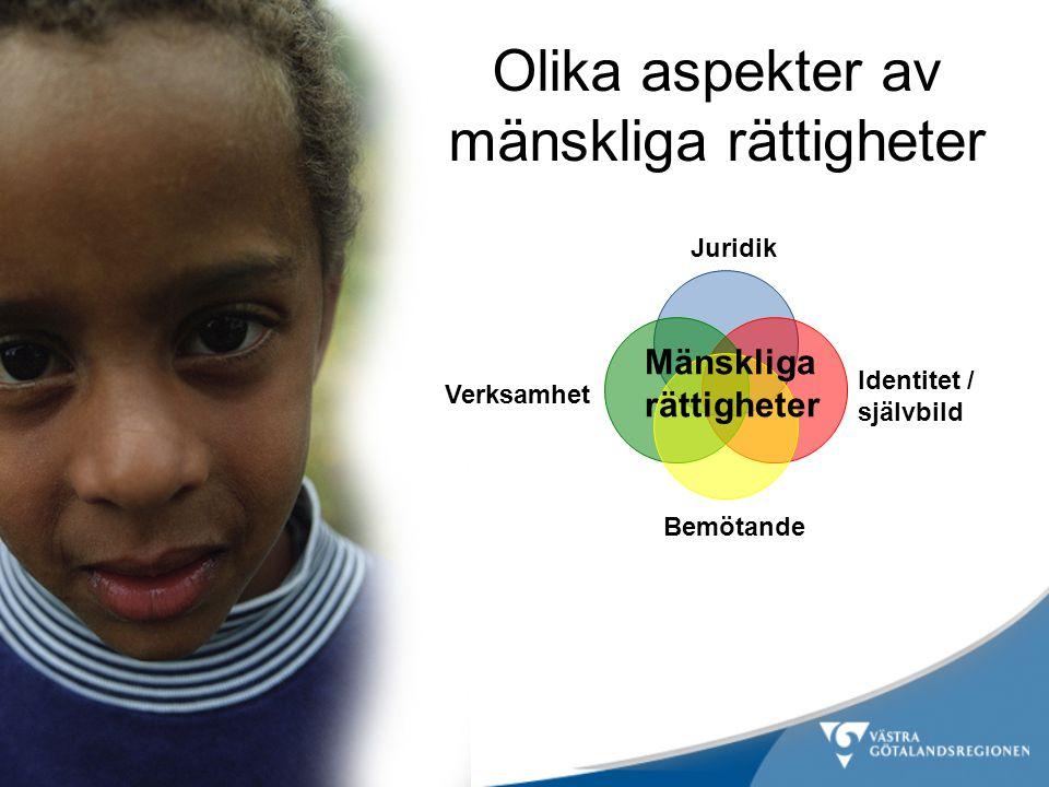 Olika aspekter av mänskliga rättigheter Mänskliga rättigheter Juridik Verksamhet Bemötande Identitet / självbild