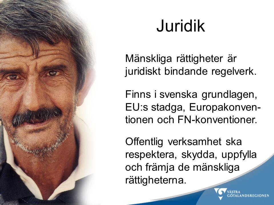 Juridik Mänskliga rättigheter är juridiskt bindande regelverk. Finns i svenska grundlagen, EU:s stadga, Europakonven- tionen och FN-konventioner. Offe