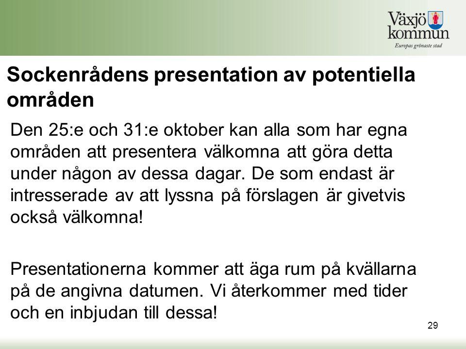 Sockenrådens presentation av potentiella områden Den 25:e och 31:e oktober kan alla som har egna områden att presentera välkomna att göra detta under någon av dessa dagar.