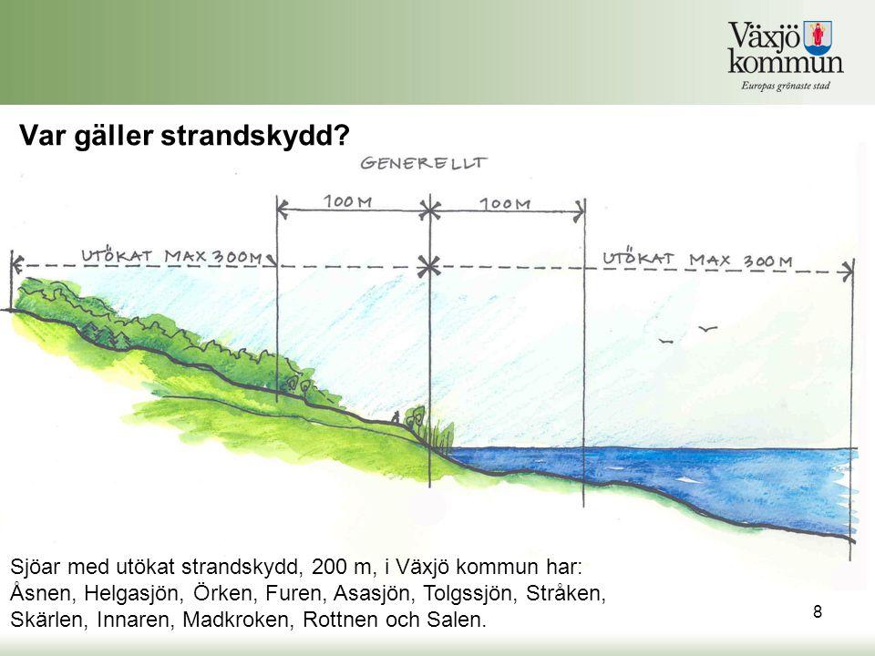Var gäller strandskydd? Sjöar med utökat strandskydd, 200 m, i Växjö kommun har: Åsnen, Helgasjön, Örken, Furen, Asasjön, Tolgssjön, Stråken, Skärlen,