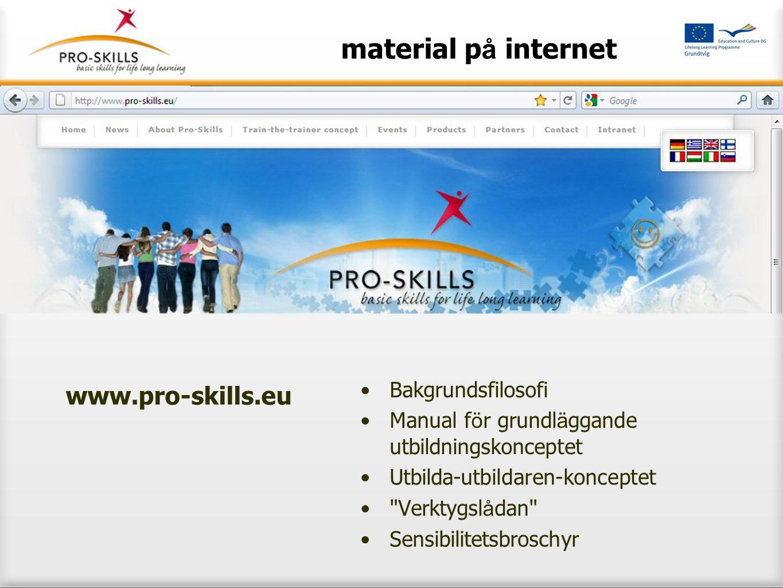 material p å internet •Bakgrundsfilosofi •Manual f ö r grundl ä ggande utbildningskonceptet •Utbilda-utbildaren-konceptet •