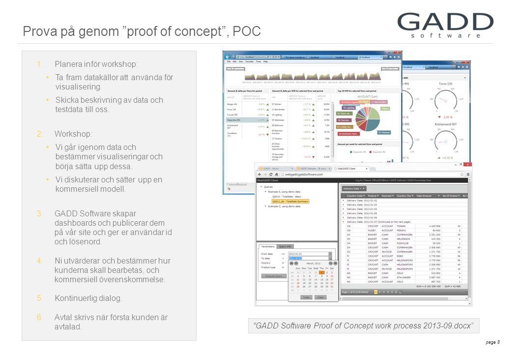 page 8 GADD Software Proof of Concept work process 2013-09.docx 1.Planera inför workshop: •Ta fram datakällor att använda för visualisering.