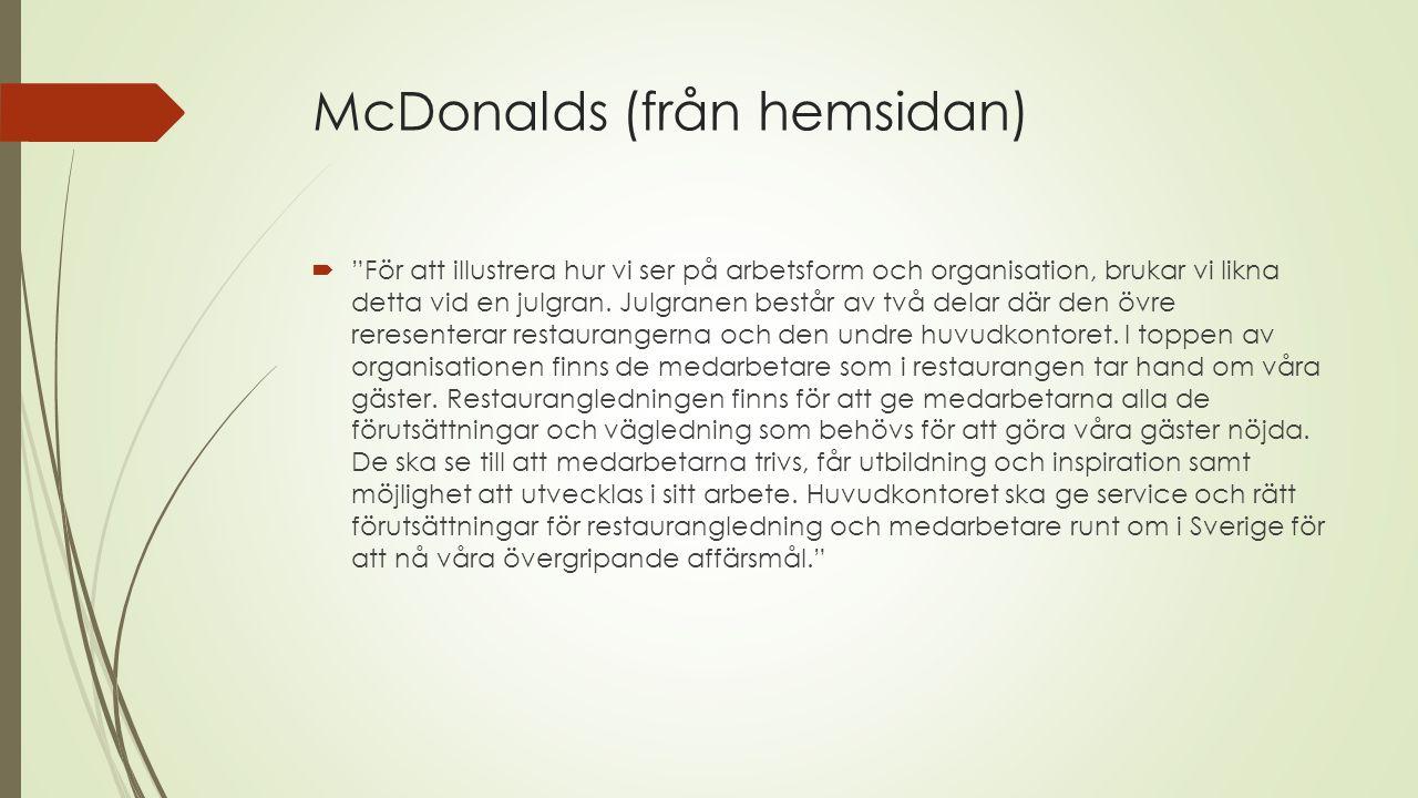 McDonalds (från hemsidan)  För att illustrera hur vi ser på arbetsform och organisation, brukar vi likna detta vid en julgran.