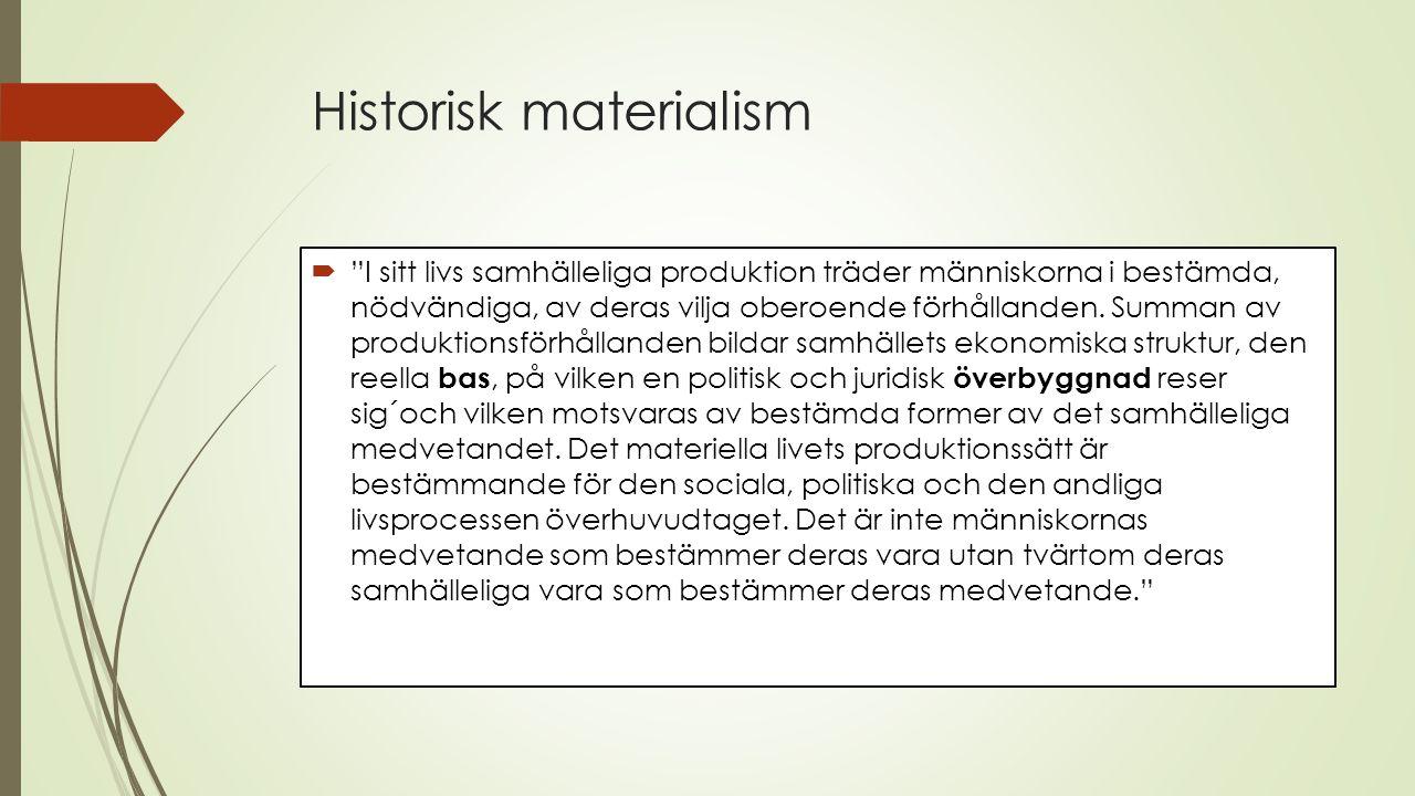 Historisk materialism  I sitt livs samhälleliga produktion träder människorna i bestämda, nödvändiga, av deras vilja oberoende förhållanden.