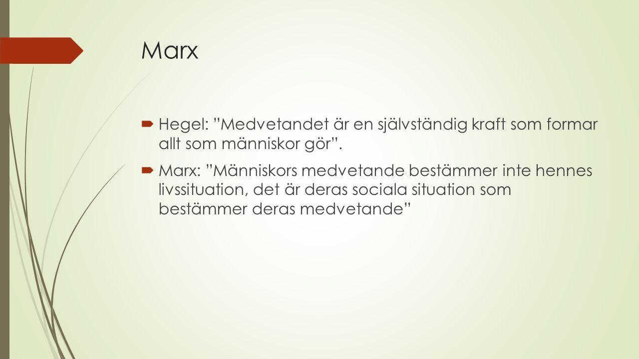 Marx  Hegel: Medvetandet är en självständig kraft som formar allt som människor gör .