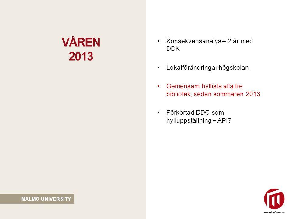 MALMÖ UNIVERSITY •Konsekvensanalys – 2 år med DDK •Lokalförändringar högskolan •Gemensam hyllista alla tre bibliotek, sedan sommaren 2013 •Förkortad DDC som hylluppställning – API.