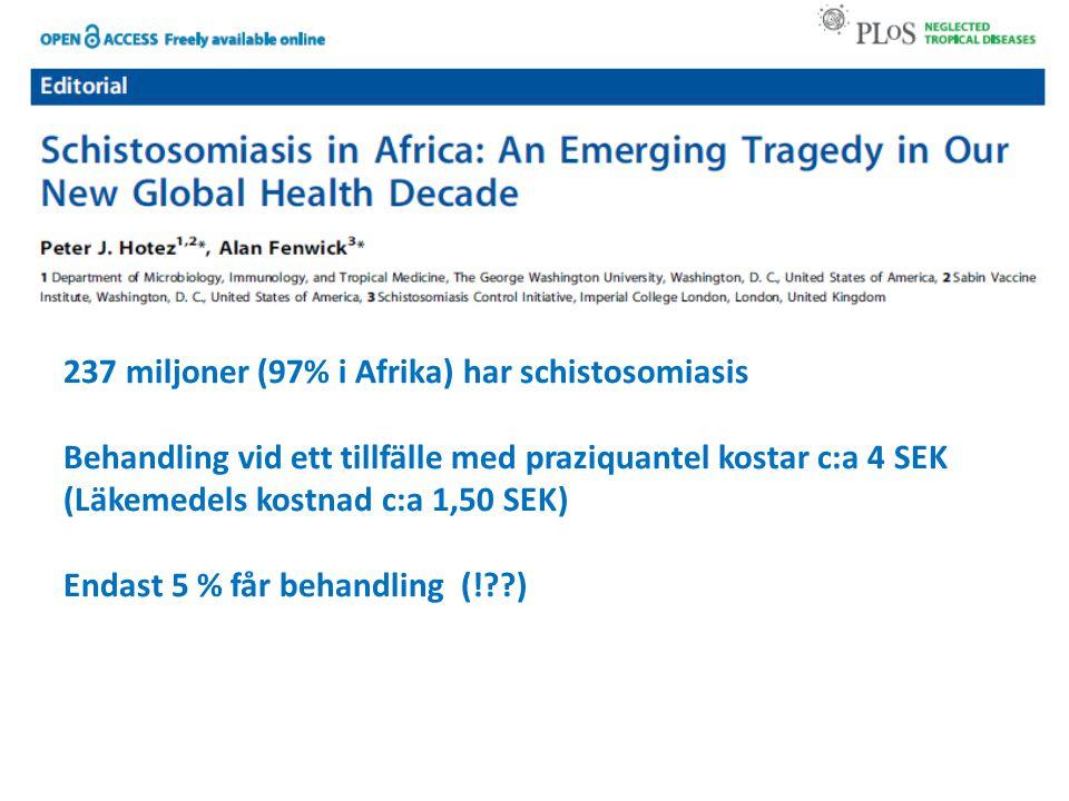 237 miljoner (97% i Afrika) har schistosomiasis Behandling vid ett tillfälle med praziquantel kostar c:a 4 SEK (Läkemedels kostnad c:a 1,50 SEK) Endast 5 % får behandling (!??)