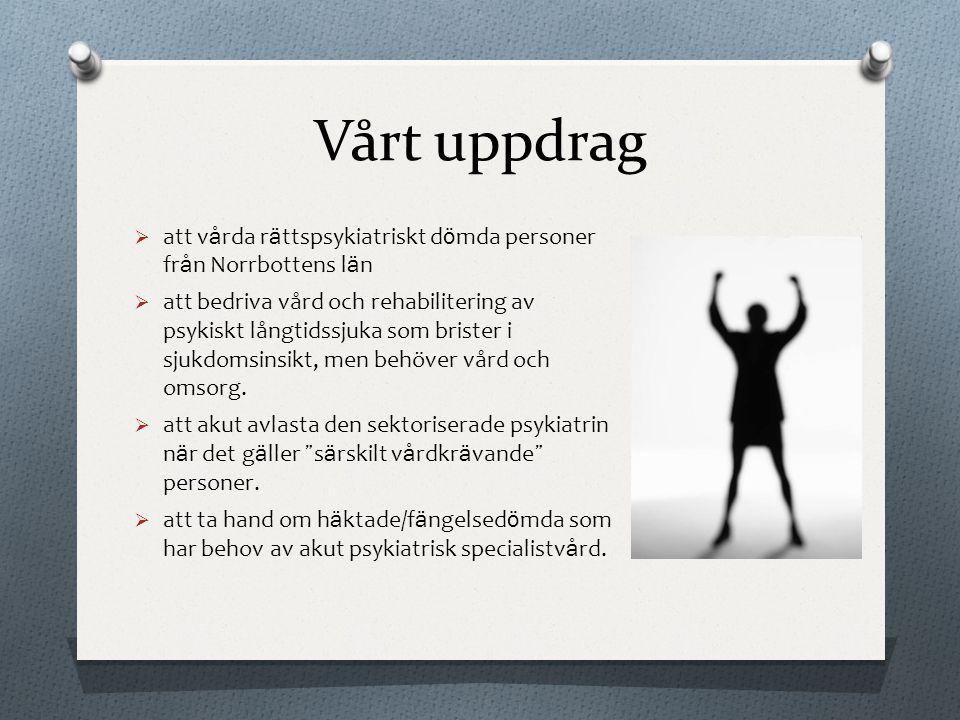 Vårt uppdrag  att v å rda r ä ttspsykiatriskt d ö mda personer fr å n Norrbottens l ä n  att bedriva vård och rehabilitering av psykiskt långtidssju