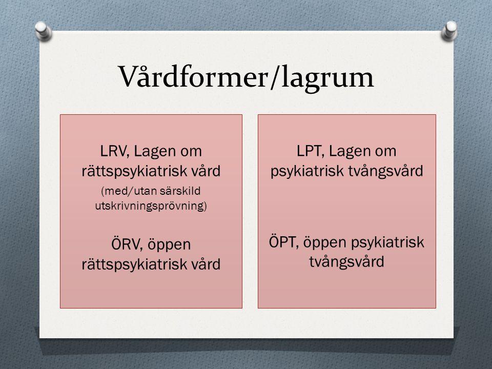 Vårdformer/lagrum LRV, Lagen om rättspsykiatrisk vård (med/utan särskild utskrivningsprövning) ÖRV, öppen rättspsykiatrisk vård LPT, Lagen om psykiatr