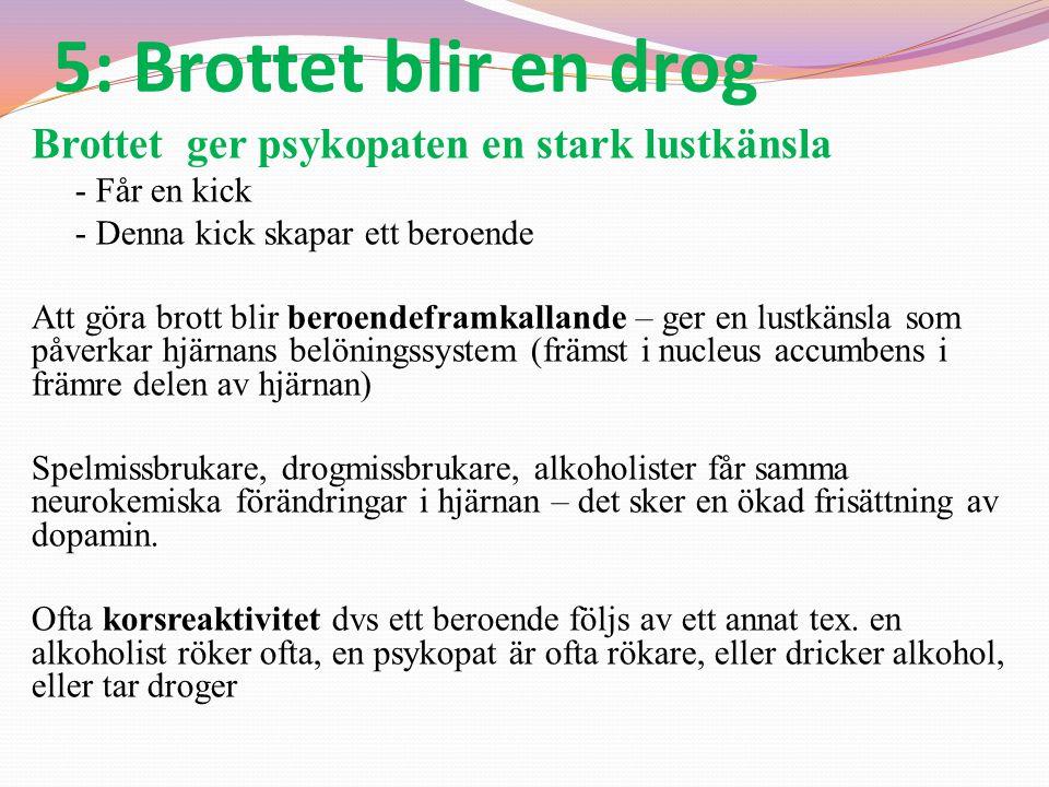 5: Brottet blir en drog Brottet ger psykopaten en stark lustkänsla - Får en kick - Denna kick skapar ett beroende Att göra brott blir beroendeframkall