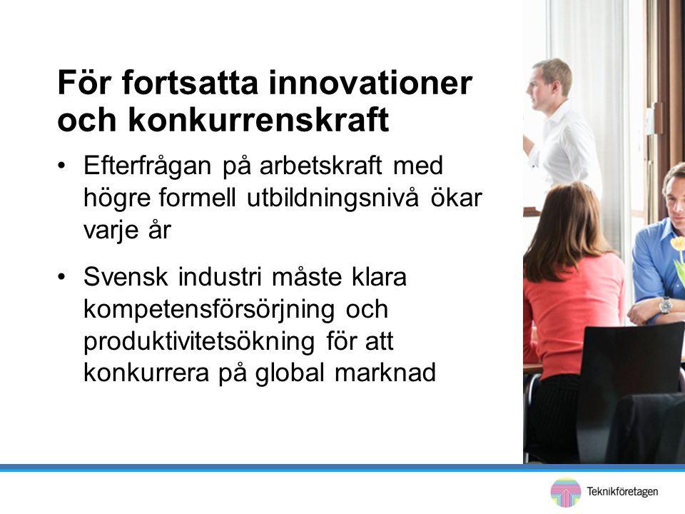 •Efterfrågan på arbetskraft med högre formell utbildningsnivå ökar varje år •Svensk industri måste klara kompetensförsörjning och produktivitetsökning