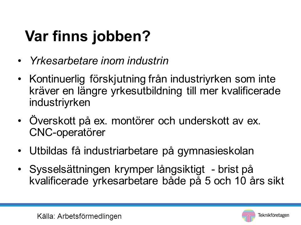 Var finns jobben? •Yrkesarbetare inom industrin •Kontinuerlig förskjutning från industriyrken som inte kräver en längre yrkesutbildning till mer kvali