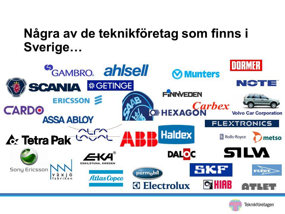 Några av de teknikföretag som finns i Sverige…