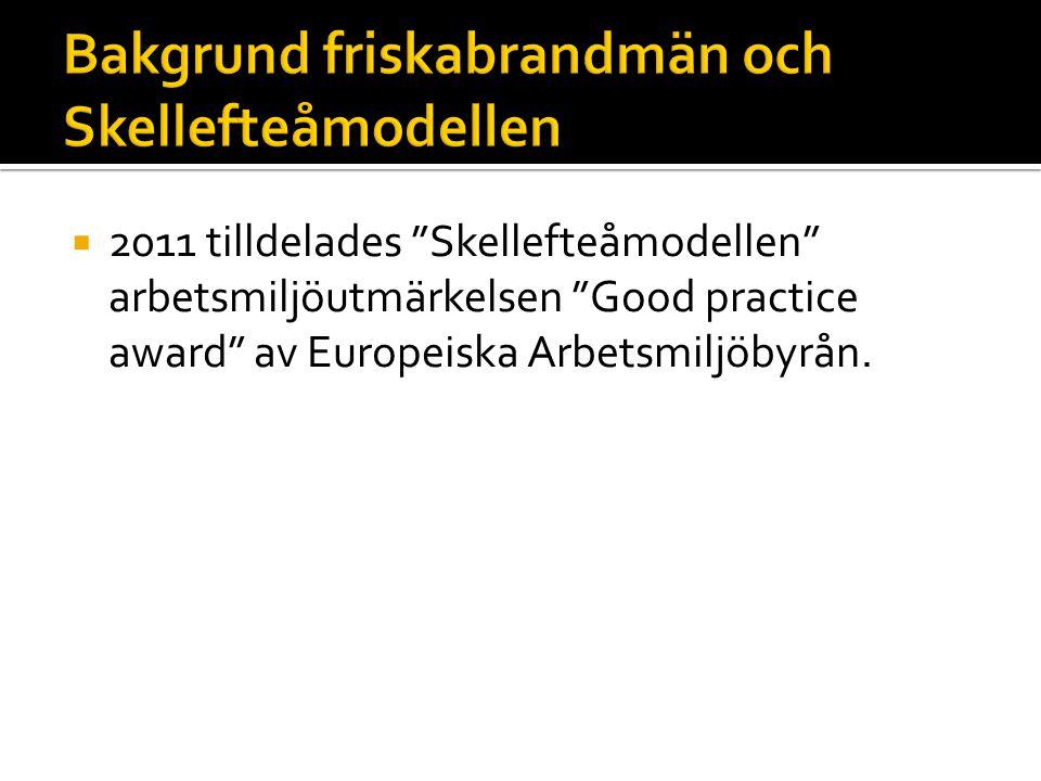  2011 tilldelades Skellefteåmodellen arbetsmiljöutmärkelsen Good practice award av Europeiska Arbetsmiljöbyrån.