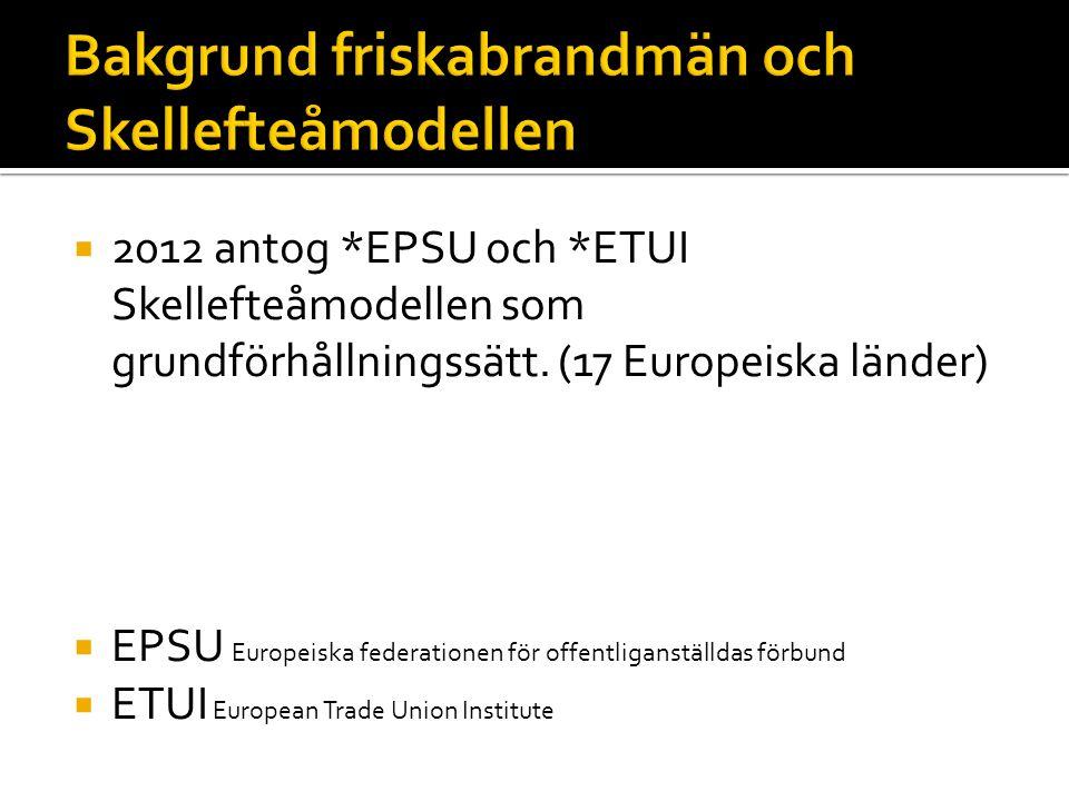  2012 antog *EPSU och *ETUI Skellefteåmodellen som grundförhållningssätt.