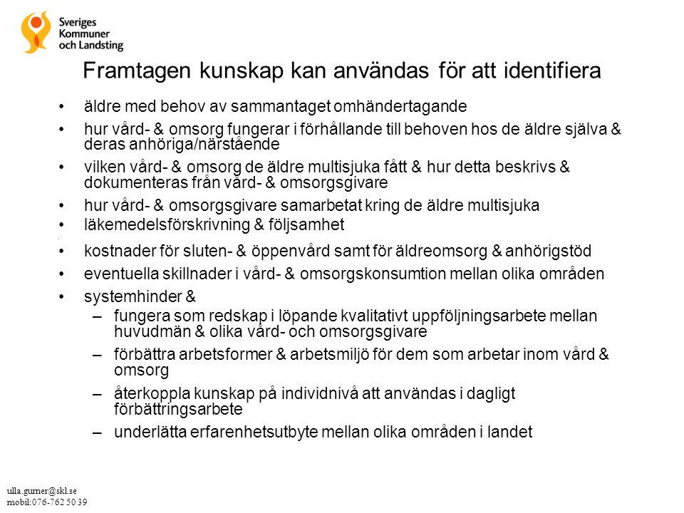 Kvalitativ uppföljning av 303 multisjuka äldre SKL, 12 landsting & 29 kommuner 1.Dalarna, Avesta, Falun, Hedemora – 22 pers 2.Gävleborgs landsting, Gävle – 21 pers 3.Jönköpings landsting, Eksjö, Sävsjö, Tranås – 20 pers 4.Kalmar landsting, Kalmar, Nybro, Torsås – 35 pers 5.Kronobergs landsting, Ljungby, Markaryd, Älmhult – 20 pers 6.Södermanland landsting, Eskilstuna, Flen, Gnesta, Katrineholm, Nyköping, Oxelösund, Strängnäs, Trosa, Vingåker 7.Tiohundra, Stockholms län, Norrtälje – 21 pers 8.Västerbottens landsting, Skellefteå – 24 pers 9.Västmanlands landsting, Västerås – 20 pers 10.Västra Götaland, Orust, Uddevalla – 30 pers 11Örebro landsting, Örebro – 24 pers 12.