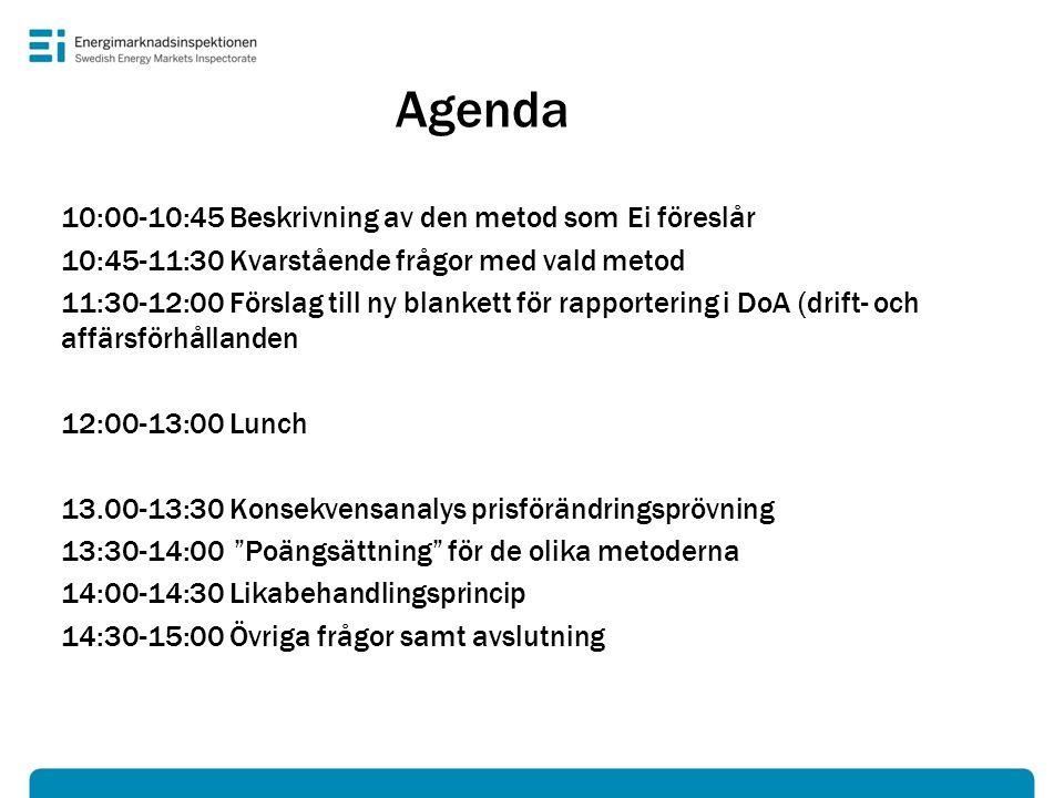 Agenda 10:00-10:45 Beskrivning av den metod som Ei föreslår 10:45-11:30 Kvarstående frågor med vald metod 11:30-12:00 Förslag till ny blankett för rap
