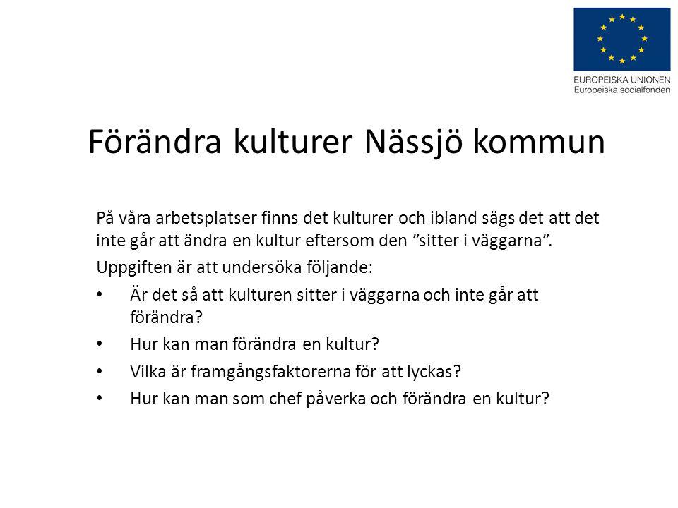 """Förändra kulturer Nässjö kommun På våra arbetsplatser finns det kulturer och ibland sägs det att det inte går att ändra en kultur eftersom den """"sitter"""