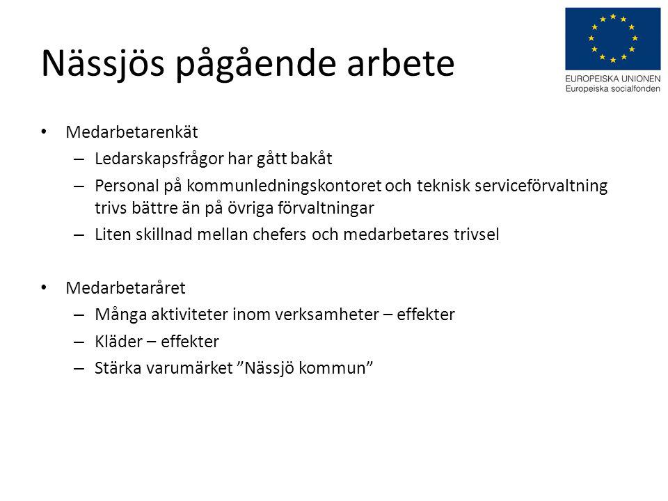 Nässjös pågående arbete • Medarbetarenkät – Ledarskapsfrågor har gått bakåt – Personal på kommunledningskontoret och teknisk serviceförvaltning trivs