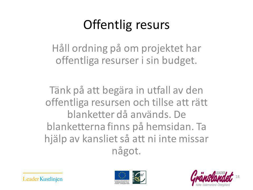 Offentlig resurs Håll ordning på om projektet har offentliga resurser i sin budget.