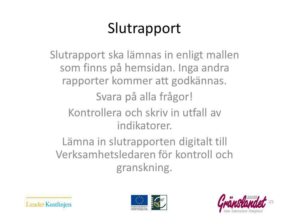 Slutrapport Slutrapport ska lämnas in enligt mallen som finns på hemsidan.