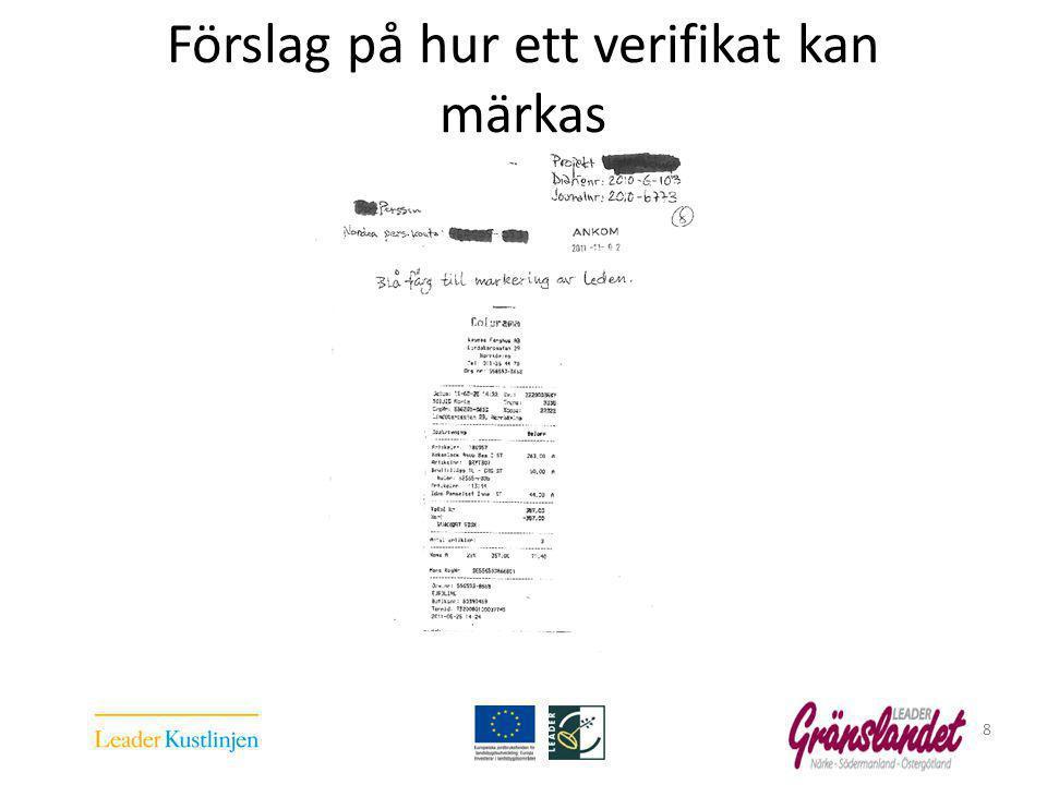 Förslag på hur ett verifikat kan märkas 8