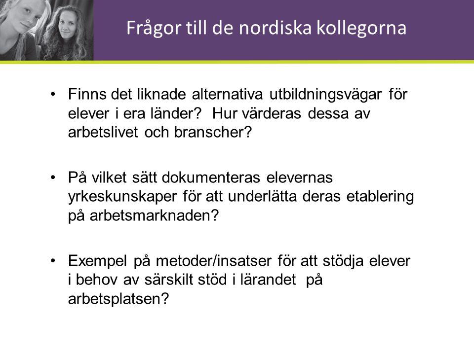 Frågor till de nordiska kollegorna •Finns det liknade alternativa utbildningsvägar för elever i era länder? Hur värderas dessa av arbetslivet och bran