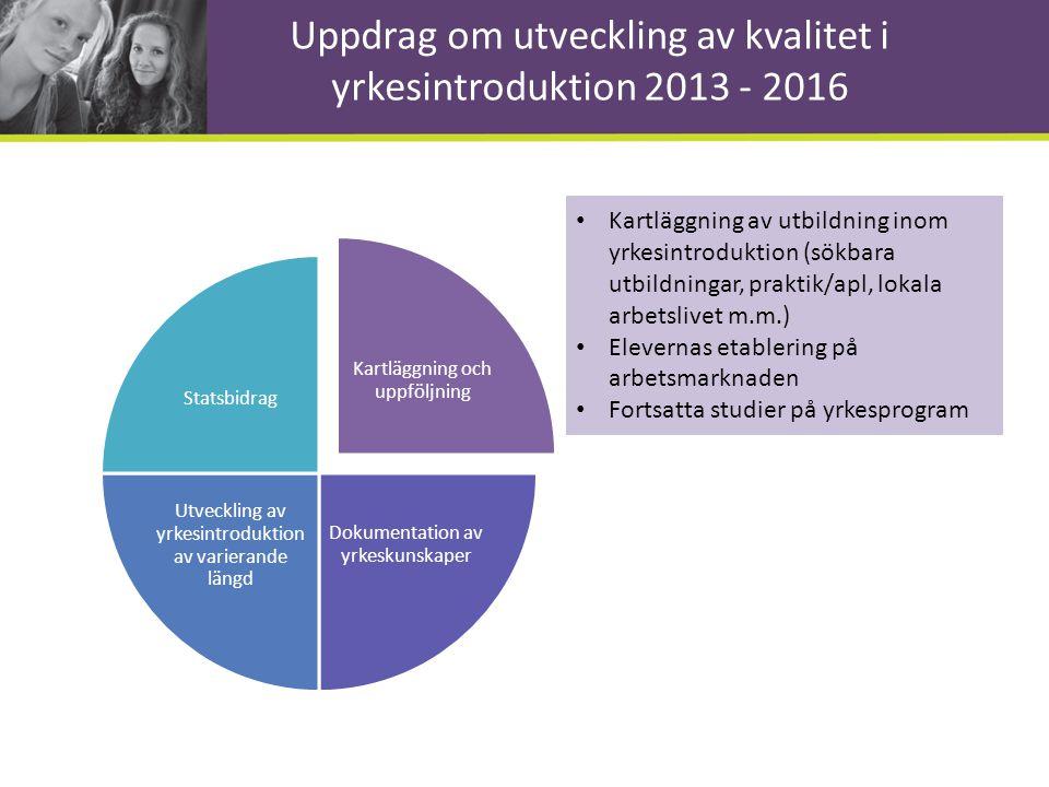 Uppdrag om utveckling av kvalitet i yrkesintroduktion 2013 - 2016 Kartläggning och uppföljning Dokumentation av yrkeskunskaper Utveckling av yrkesintr
