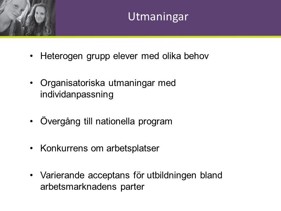 Utmaningar •Heterogen grupp elever med olika behov •Organisatoriska utmaningar med individanpassning •Övergång till nationella program •Konkurrens om
