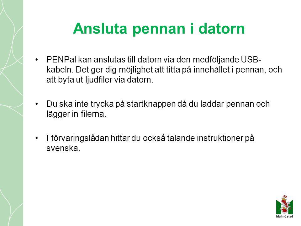 Ansluta pennan i datorn •PENPal kan anslutas till datorn via den medföljande USB- kabeln. Det ger dig möjlighet att titta på innehållet i pennan, och