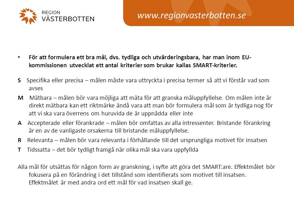 www.regionvasterbotten.se • För att formulera ett bra mål, dvs. tydliga och utvärderingsbara, har man inom EU- kommissionen utvecklat ett antal kriter