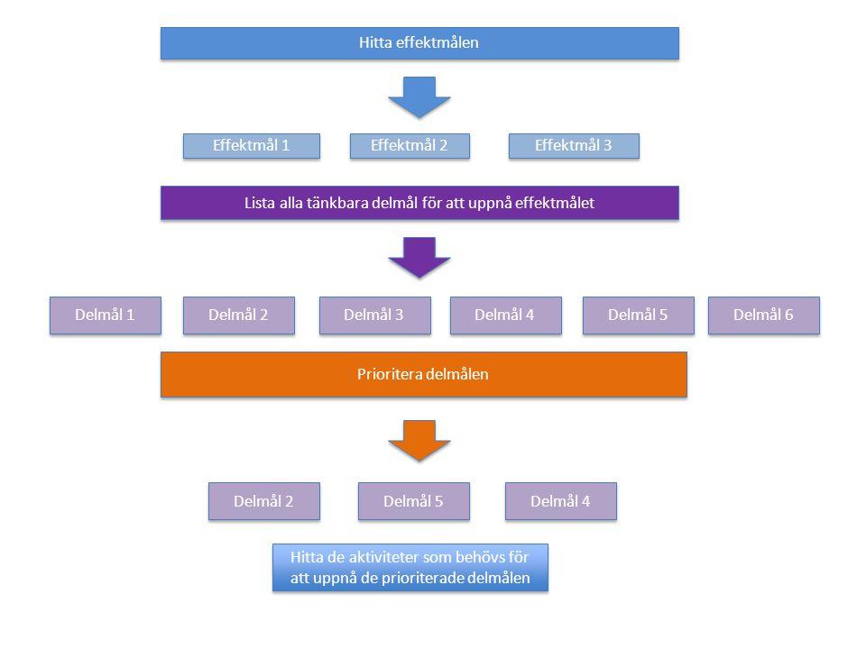 Hitta effektmålen Lista alla tänkbara delmål för att uppnå effektmålet Prioritera delmålen Effektmål 1 Effektmål 3 Effektmål 2 Delmål 2 Delmål 1 Delmå