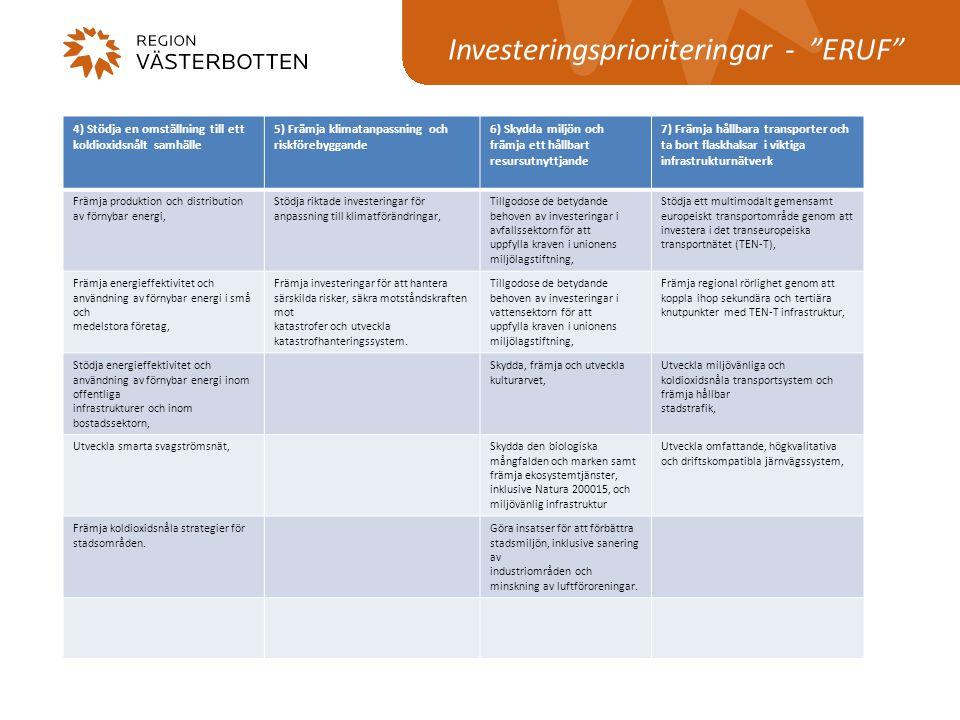 """Investeringsprioriteringar - """"ERUF"""" 4) Stödja en omställning till ett koldioxidsnålt samhälle 5) Främja klimatanpassning och riskförebyggande 6) Skydd"""