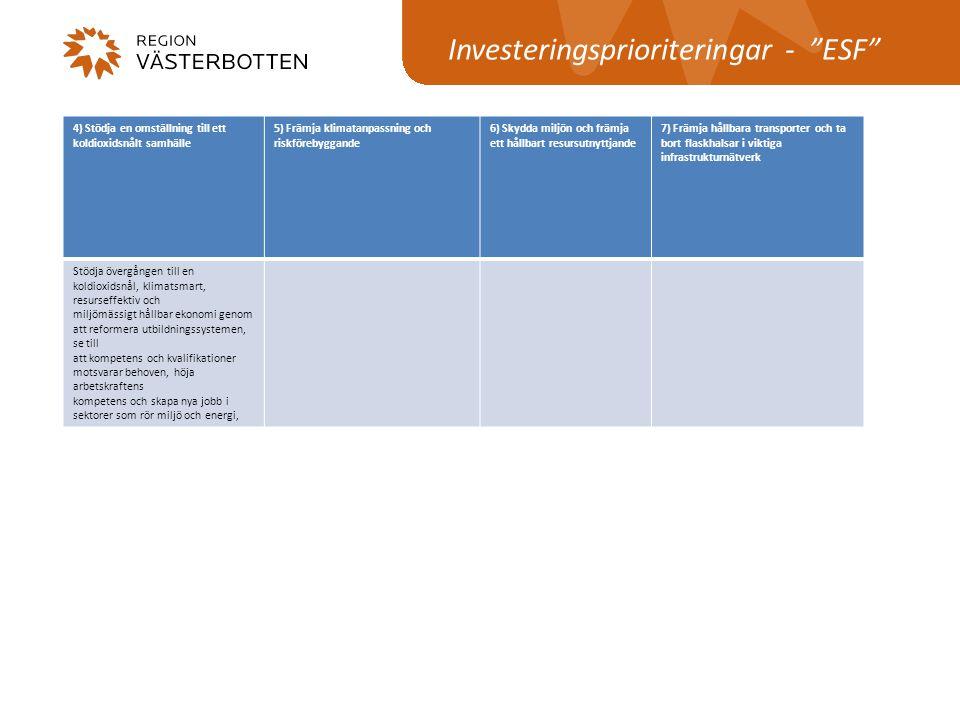 """Investeringsprioriteringar - """"ESF"""" 4) Stödja en omställning till ett koldioxidsnålt samhälle 5) Främja klimatanpassning och riskförebyggande 6) Skydda"""