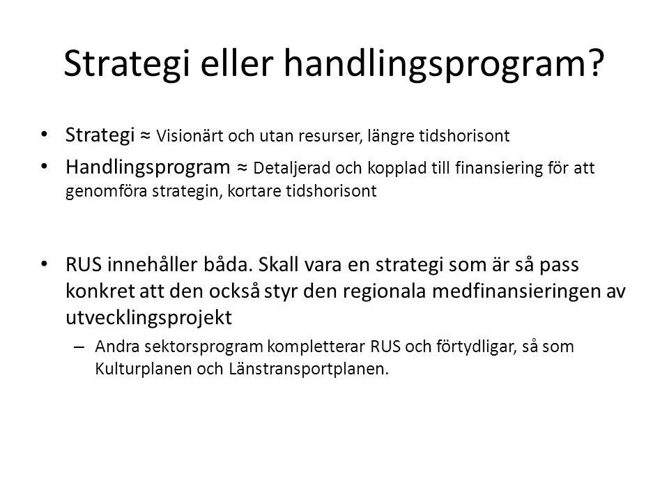 • Strategi ≈ Visionärt och utan resurser, längre tidshorisont • Handlingsprogram ≈ Detaljerad och kopplad till finansiering för att genomföra strategi