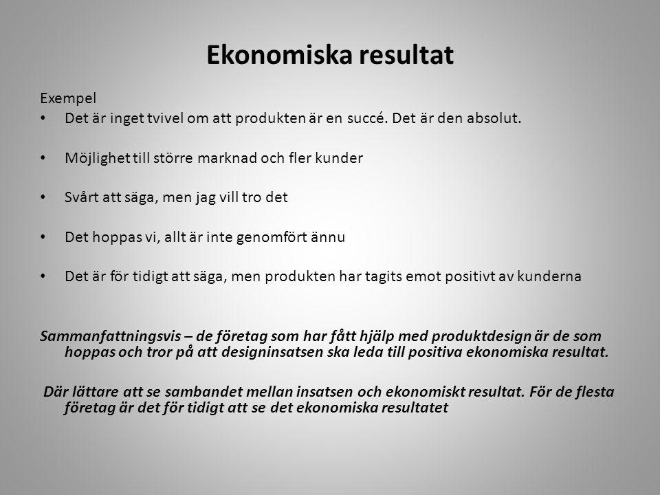 Ekonomiska resultat Exempel • Det är inget tvivel om att produkten är en succé. Det är den absolut. • Möjlighet till större marknad och fler kunder •