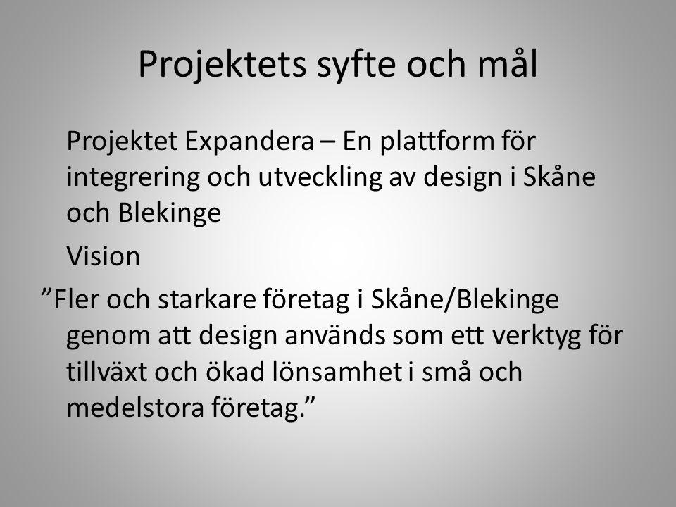 """Projektets syfte och mål Projektet Expandera – En plattform för integrering och utveckling av design i Skåne och Blekinge Vision """"Fler och starkare fö"""